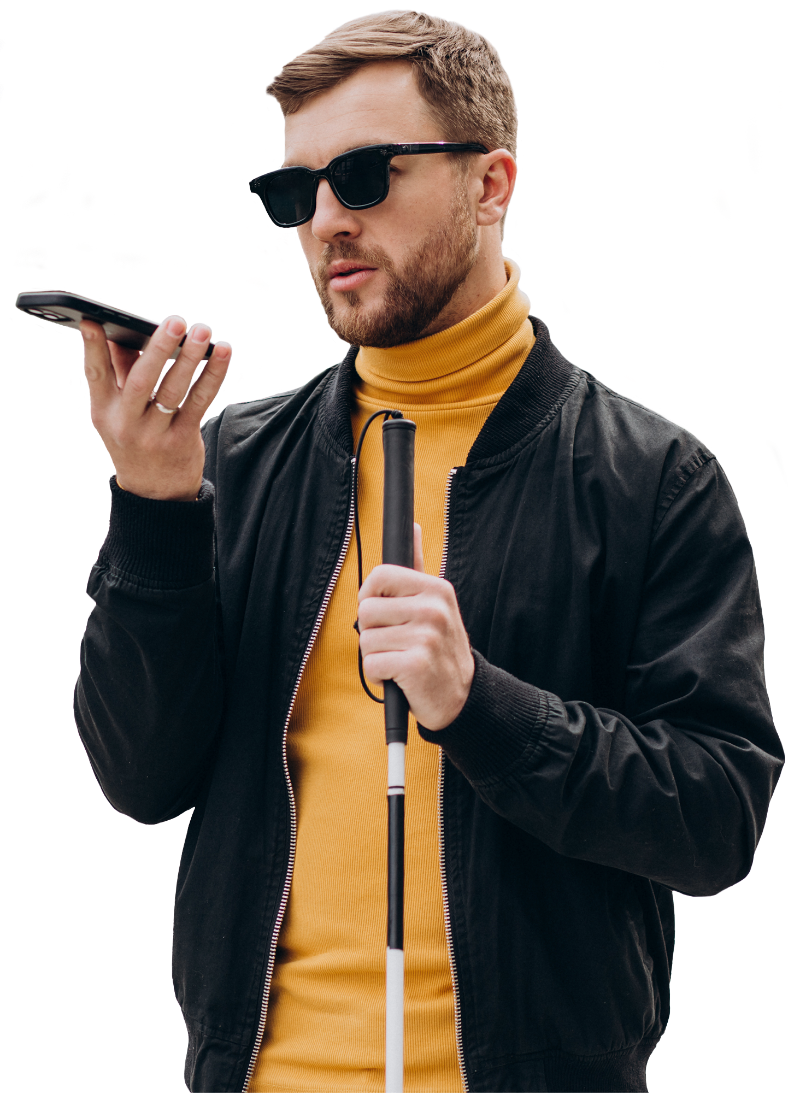 Young blinded man using phone and sending voice message